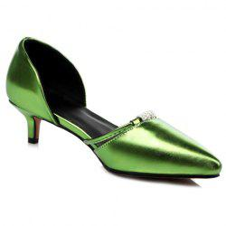 Graceful Pointed Toe and Rhinestones Design Pumps For Women - GREEN