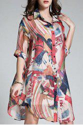Long Buttoned Colorful Printed Shirt