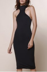 Elegant Turtle Neck Solid Color Hollow Out Sleeveless Bodycon Dress For Women -