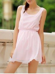 Simple Square Neck Sleeveless Waist Drawstring Solid Color Women's Dress -