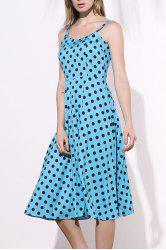 Long Polka Dot Midi Swing Homecoming Dress