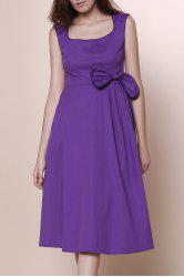 Bowknot Embellished Vintage A Line Dress