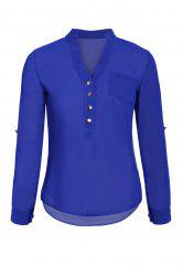 Simple Style V-Neck Chiffon Solid Color Long Sleeve Women's Blouse -