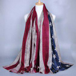 Chic Stars and Stripes Pattern American Flag Voile Scarf For Women - KHAKI