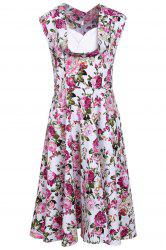 Stylish Sweetheart Neck Sleeveless Floral Print Women's Dress -