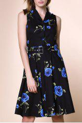 Retro Style Turn-Down Collar Sleeveless Flower Pattern Women's Dress