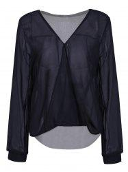 Stylish Plunging Neck Long Sleeve Solid Color Women's Blouse - BLACK M