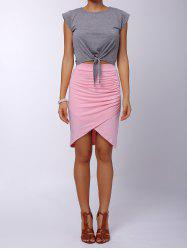 Ruched Crossover Pencil Skirt
