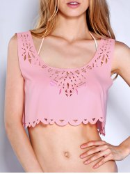Scoop Neck Laser Cut Crop Tank Top