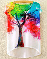Stylish Scoop Neck Colorful Tree Print High Low Short Sleeve T-Shirt For Women -