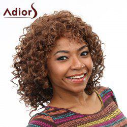 Stunning Short Capless Fluffy Curly Brown Mixed Synthetic Wig For Women