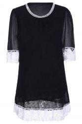 Casual Lace Insert Mini Shift Dress
