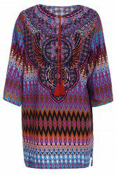 Vintage V-Neck Full Print 3/4 Sleeve Dress For Women