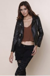 Stylish Turn-Down Collar Long Sleeve PU Zippered Women's Jacket - BLACK
