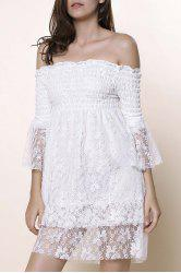 Off The Shoulder Lace Trim Short Dress - WHITE