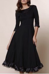 Midi A Line Flounce Swing Evening Dress - BLACK