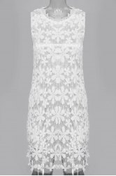 Sleeveless Lace See Thru Club Dress - WHITE