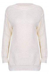 Stylish Scoop Neck Long Sleeve Solid Colour Loose-Fitting Women's Sweater - OFF-WHITE