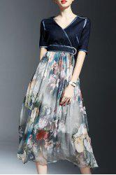 Stylish V Neck Half Sleeve Floral Print Denim Spliced Dress For Women