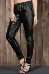 Stylish Elastic Waist Solid Color Plus Size Women's PU Pants