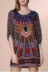 Women's Simple 3/4 Sleeve Lace-Up Ethnic Print V-Neck Dress -
