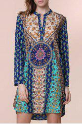Ethnic V-Neck Long Sleeve Printed Dress For Women - GREEN
