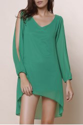 Split Sleeve Chiffon Summer Dress - GRASS GREEN