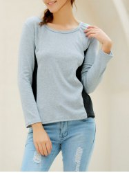 Casual Scoop Neck Long Sleeves T-Shirt For Women - GRAY XL