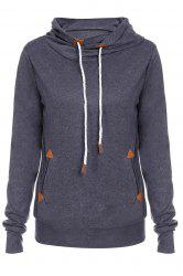 Stylish Hooded Long Sleeve Draped Spliced Women's Hoodie - DEEP GRAY