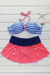 High Waisted Spaghetti Strap Stripe Swimsuit -