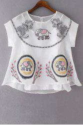 Trendy Solid Color Cami Tank Top and Embroidery T-Shirt Twinset For Women