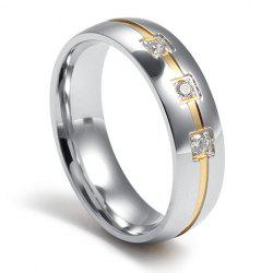 Punk Style Titanium Steel Rhinestone Square Ring For Men - Argent