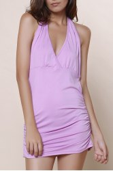 Ruched Halter Open Back Long Tank Top