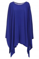 Stylish Scoop Neck Solid Color Asymmetrical Women's Dress - DEEP BLUE L