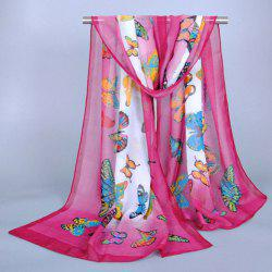 Chic Various Handpainted Butterflies Pattern Ombre Chiffon Scarf For Women