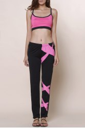 Active Spaghetti Strap Color Block Crop Top and Pants Twinset For Women -