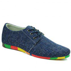 Fashionable Round Toe and Canvas Design Casual Shoes For Men -