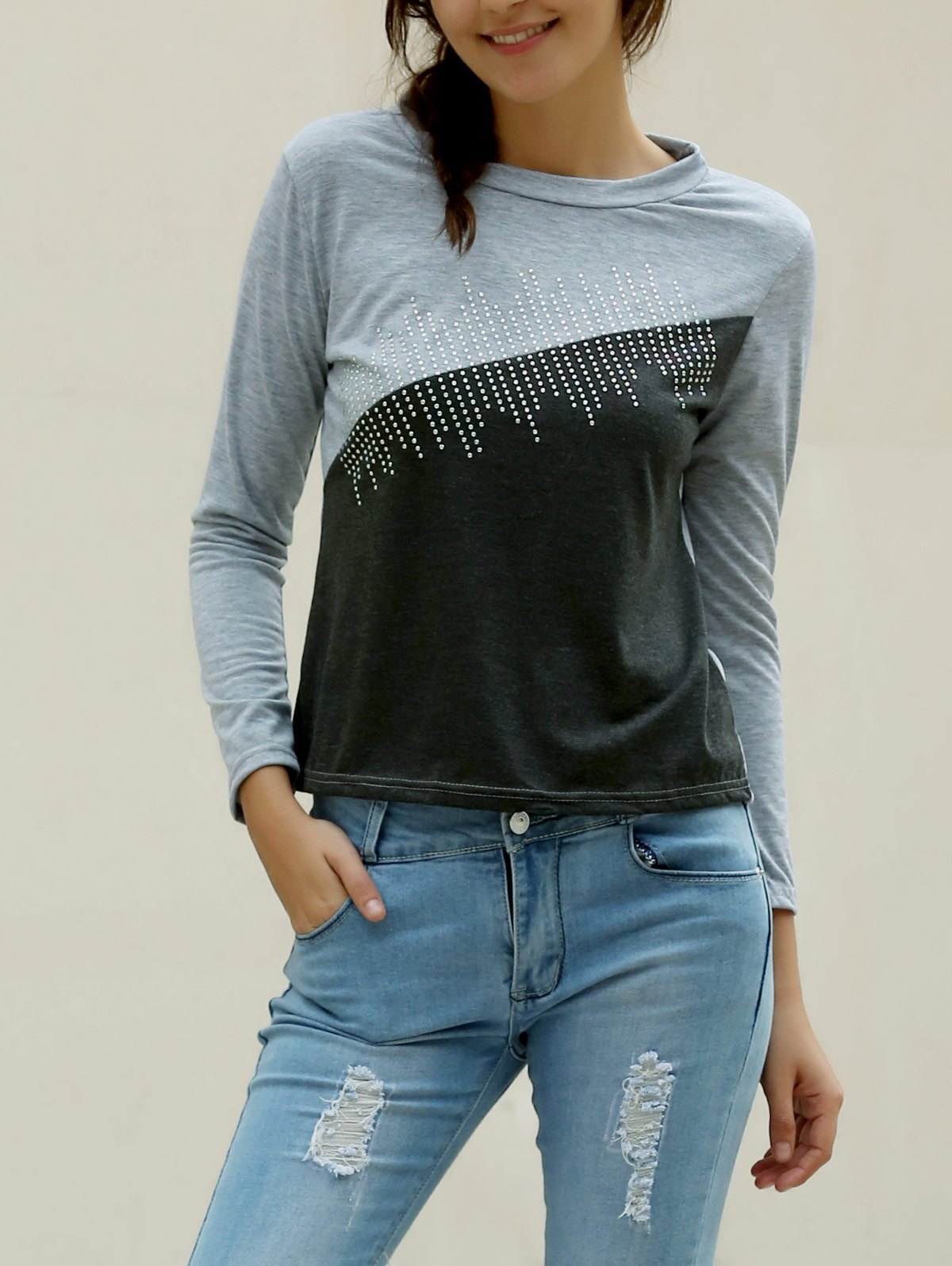 Discount Casual Jewel Neck Color Splicing Diamonds T-Shirt For Women