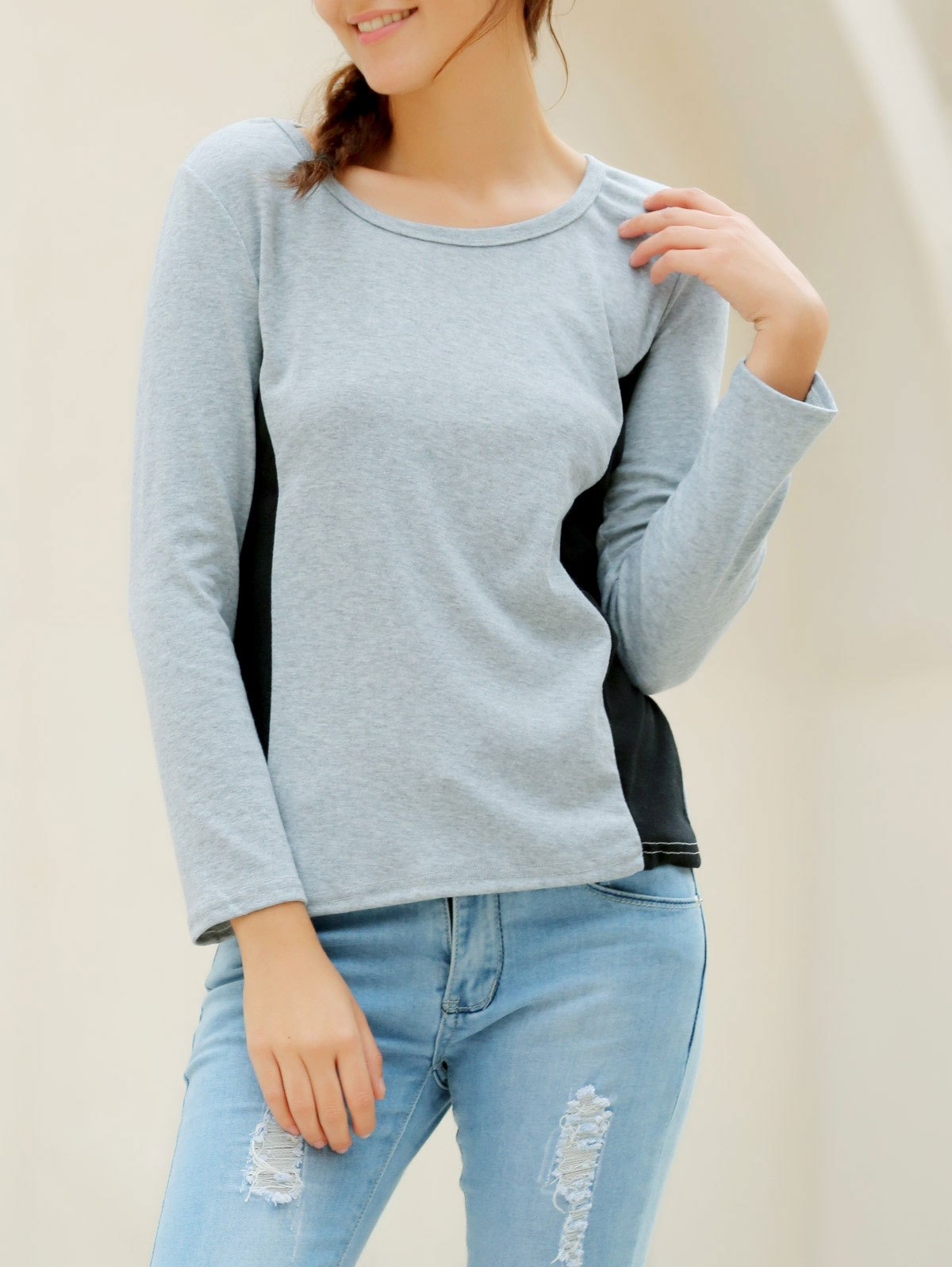 Online Casual Scoop Neck Long Sleeves T-Shirt For Women