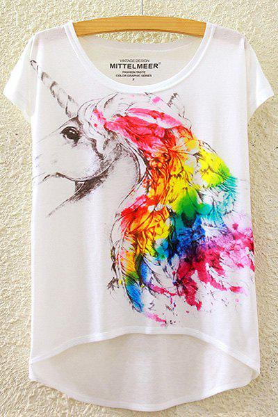 Rainbow Unicorn Print High-Low T-ShirtWOMEN<br><br>Size: ONE SIZE(FIT SIZE XS TO M); Color: WHITE; Material: Cotton Blends,Polyester; Shirt Length: Regular; Sleeve Length: Short; Collar: Round Neck; Style: Casual; Season: Summer; Pattern Type: Animal; Weight: 0.111kg; Package Contents: 1 x T-Shirt;