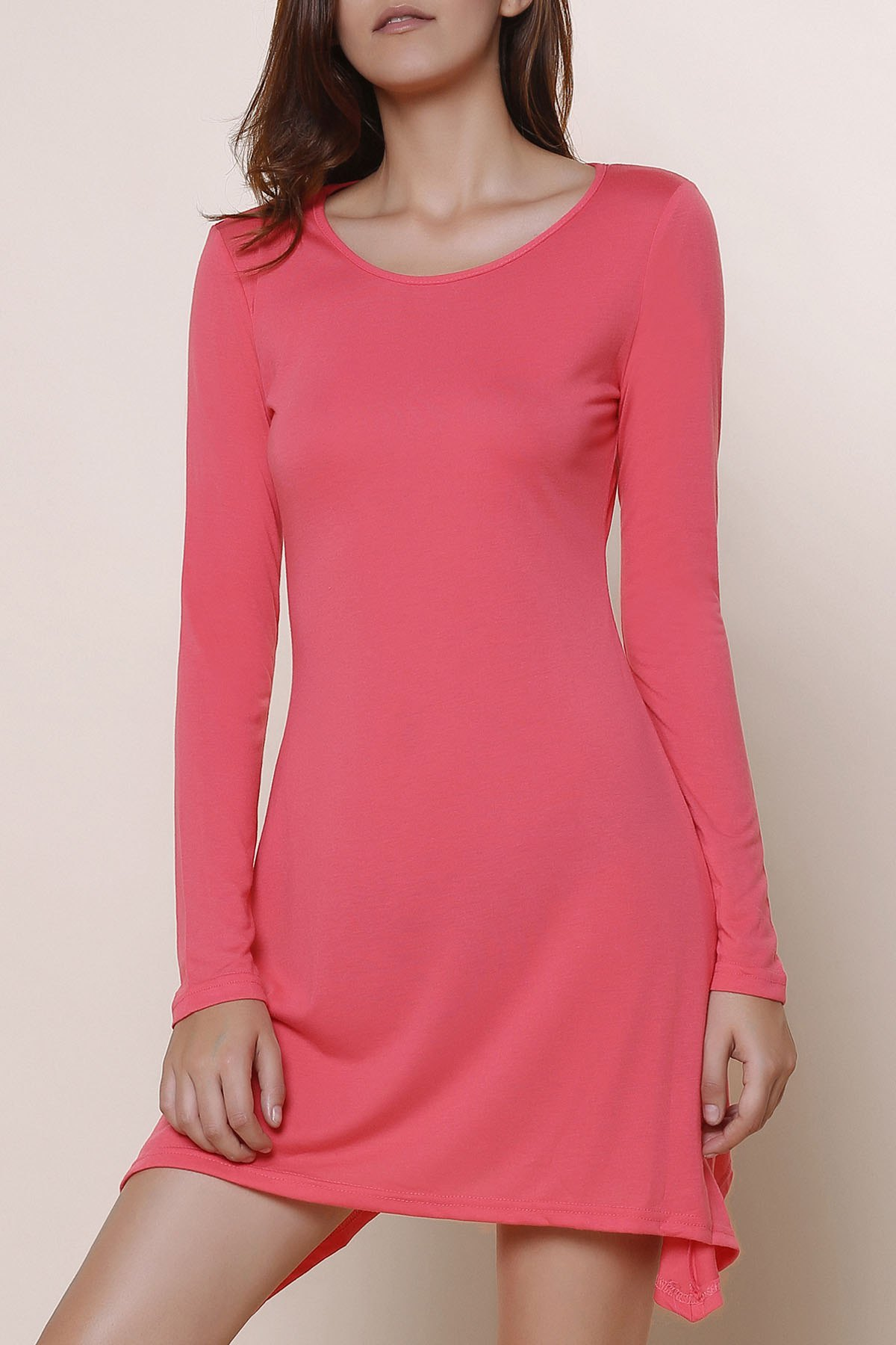 Hot Stylish Scoop Neck Long Sleeve Asymmetrical Solid Color Women's Dress