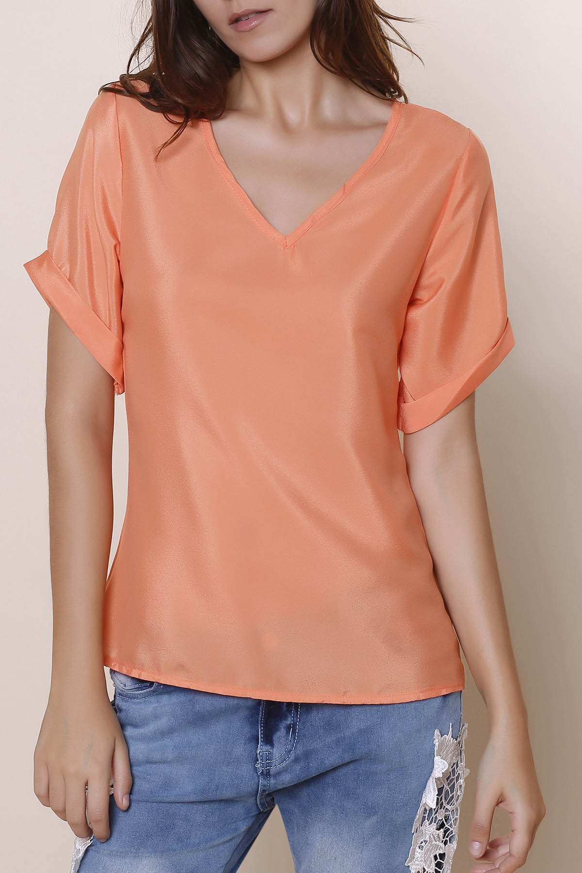 Orangepink simple v neck solid color short sleeve chiffon for Plain colored v neck t shirts