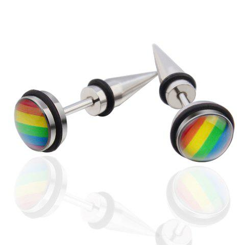 Pair of Vintage Colored Stainless Steel Cone Earrings For MenJEWELRY<br><br>Color: COLORMIX; Earring Type: Stud Earrings; Gender: For Men; Style: Trendy; Shape/Pattern: Geometric; Weight: 0.025kg; Package Contents: 1 x Earring (Pair);