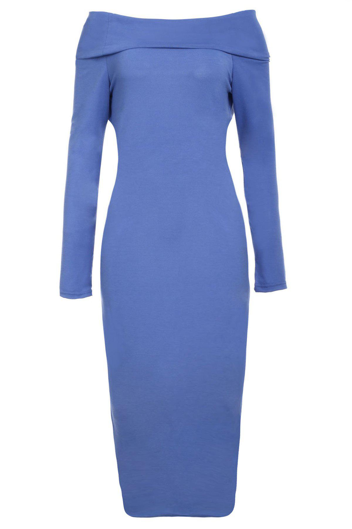 Cheap Off-The-Shoulder Long Sleeve Bodycon Midi Dress