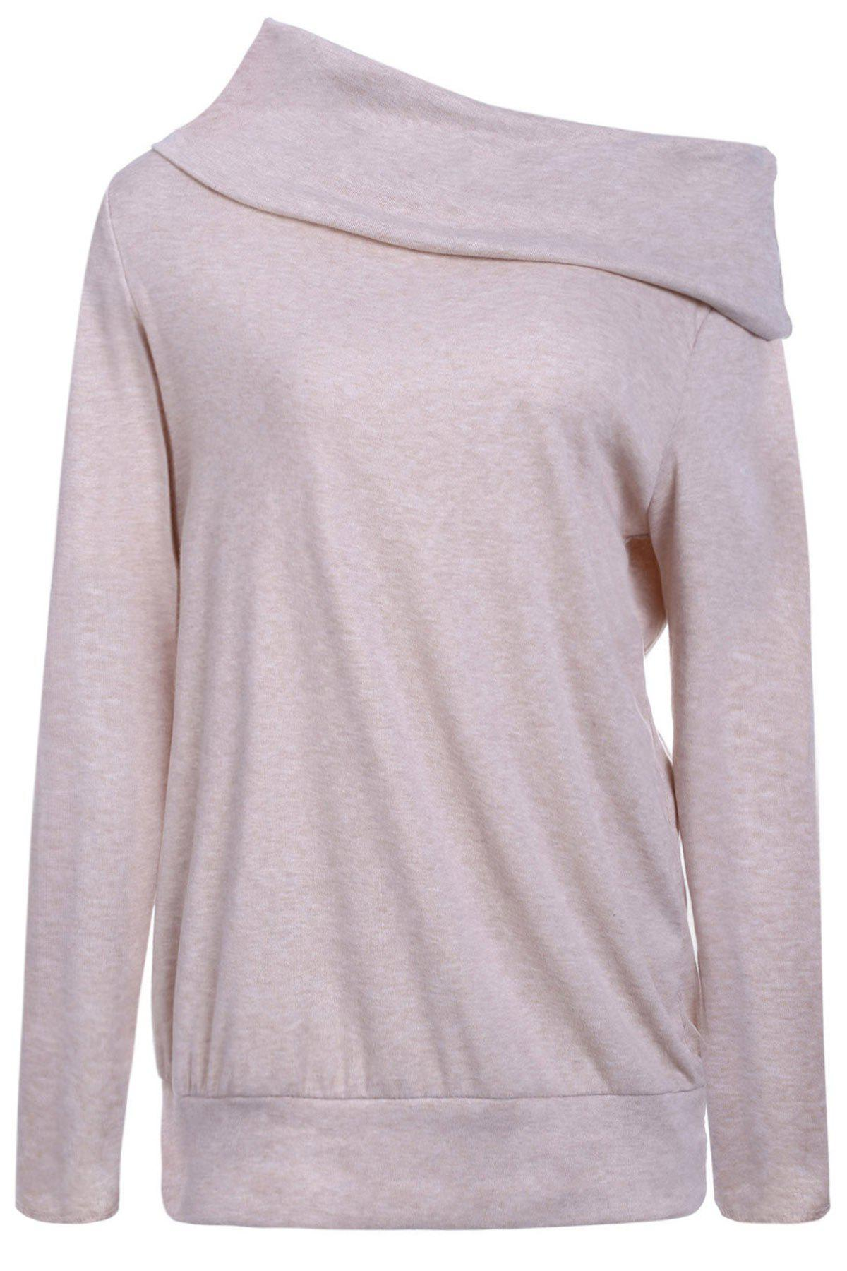 Off The Shoulder Multiway T-ShirtWOMEN<br><br>Size: XL; Color: LIGHT PURPLE; Material: Cotton Blends,Polyester; Shirt Length: Long; Sleeve Length: Full; Collar: Off The Shoulder; Style: Fashion; Pattern Type: Solid; Season: Fall,Spring; Weight: 0.3300kg; Package Contents: 1 x T-Shirt;