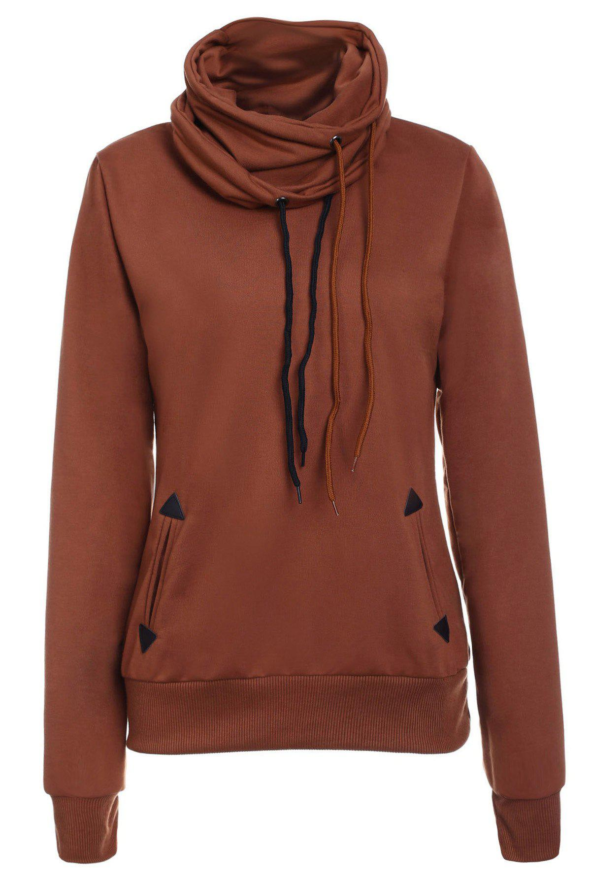 Layered Collar Pullover Drawstring SweatshirtWOMEN<br><br>Size: S; Color: BROWN; Material: Polyester; Shirt Length: Regular; Sleeve Length: Full; Style: Fashion; Pattern Style: Solid; Weight: 0.470kg; Package Contents: 1 x Sweatshirt;