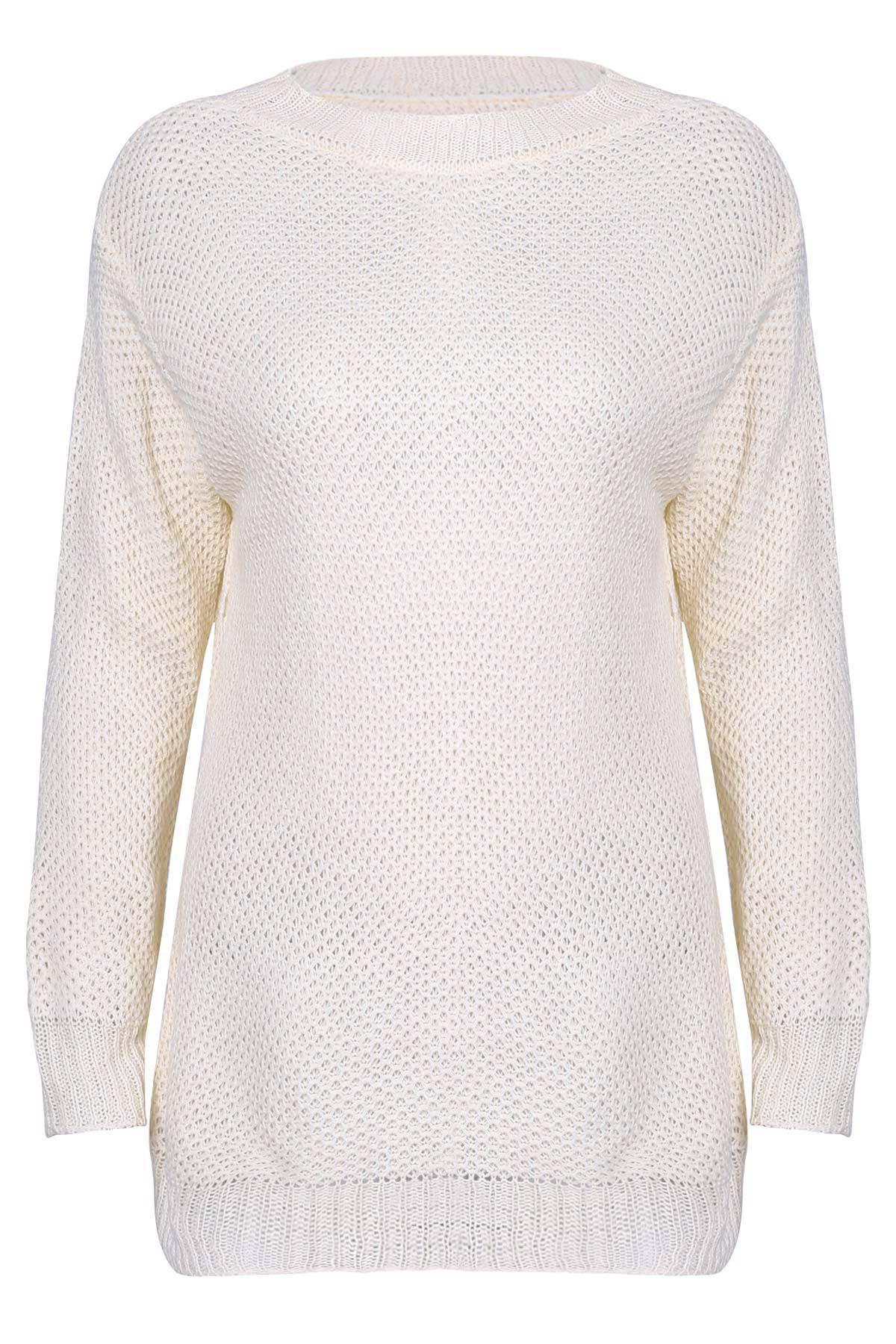 Cheap Stylish Scoop Neck Long Sleeve Solid Colour Loose-Fitting Women's Sweater
