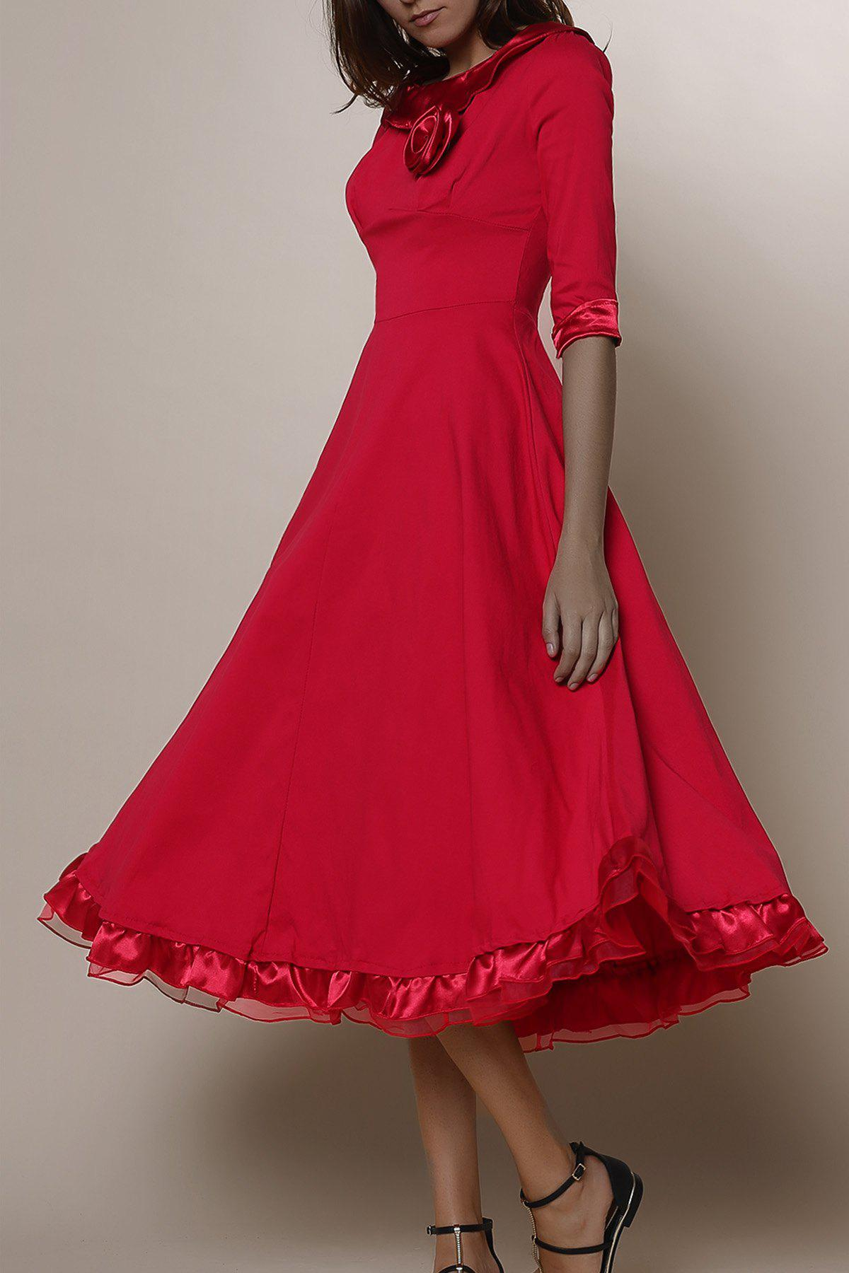Midi A Line Flounce Swing Evening DressWOMEN<br><br>Size: L; Color: RED; Style: Vintage; Material: Polyester; Silhouette: Ball Gown; Dresses Length: Mid-Calf; Neckline: Round Collar; Sleeve Length: 3/4 Length Sleeves; Pattern Type: Solid; With Belt: No; Season: Summer; Weight: 0.550kg; Package Contents: 1 x Dress;