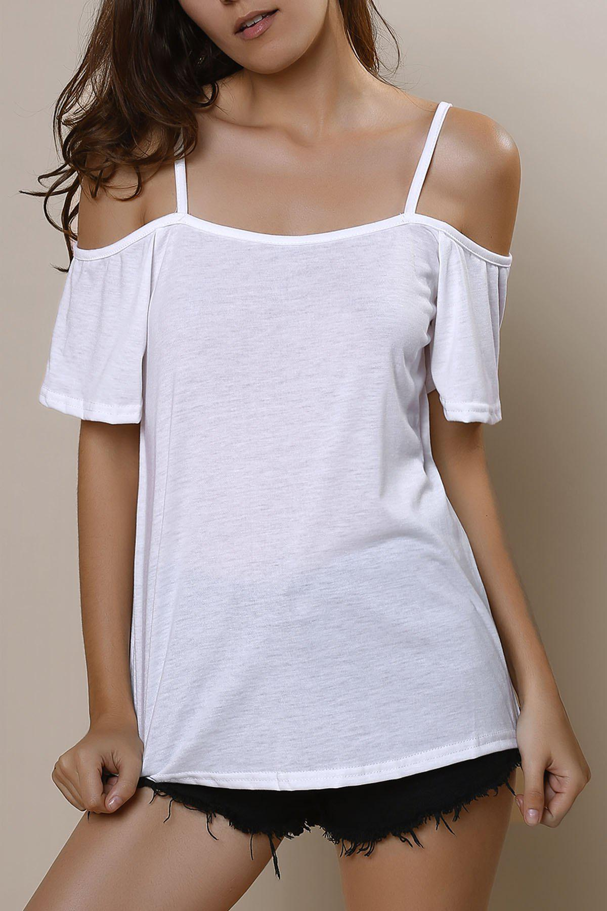 Latest Sexy Spaghetti Strap Solid Color Short Sleeve T-Shirt For Women