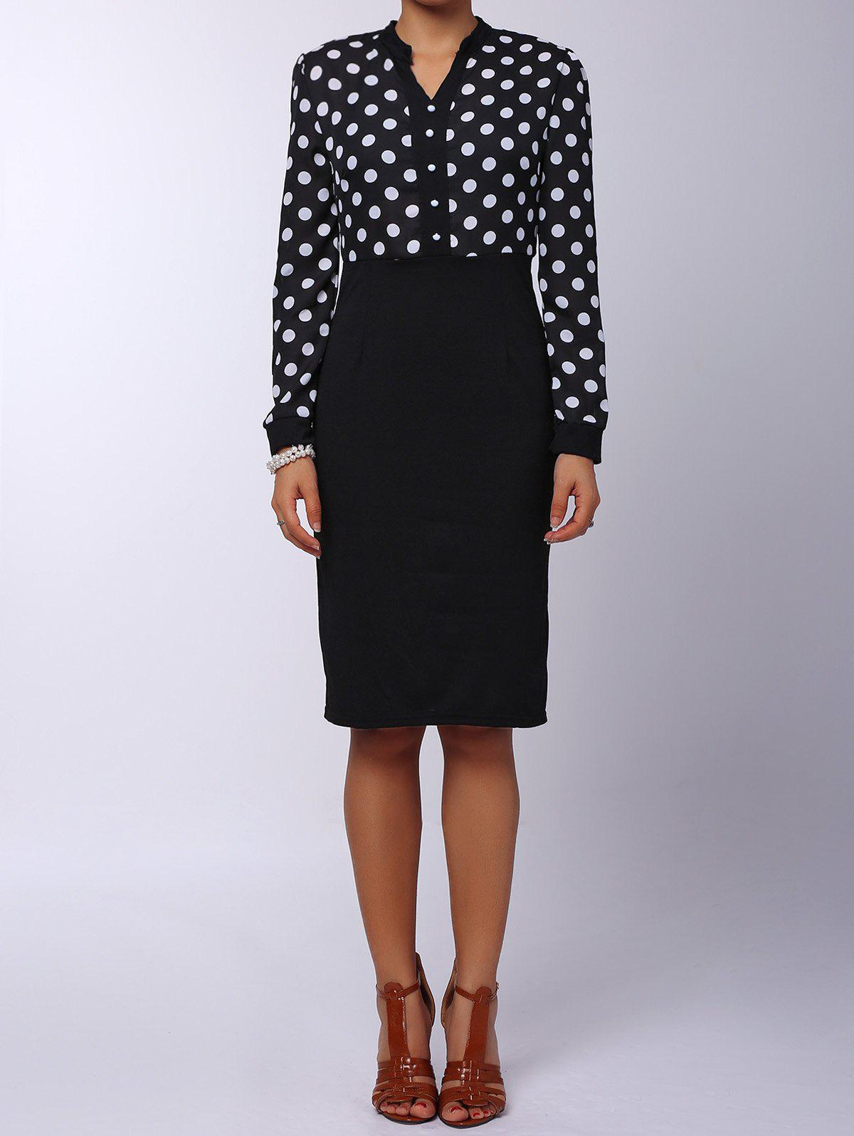 Outfits Polka Dot Long Sleeve Business Dress